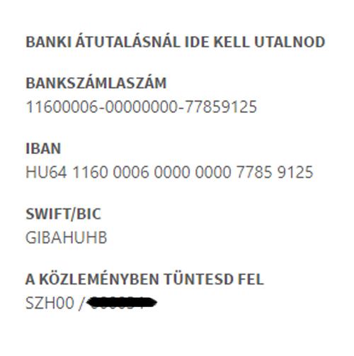 Banki utalás információi